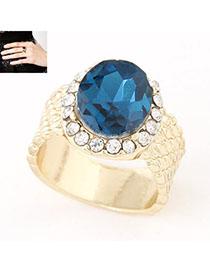 Infinity Navy Blue Diamond Decorated Simple Design Alloy Korean Rings