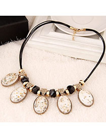 Little White Oval Shape Decorated Simple Design Alloy Korean Necklaces