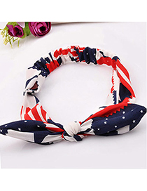 lucky Red Star Pattern Decorated Bowknot Design Fabric Hair band hair hoop