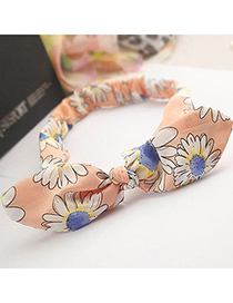 fashion Pink Flower Pattern Decorated Bowknot Design Fabric Hair band hair hoop