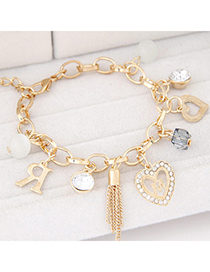 Korean Gold Color Diamond Decorated Heart Shape Design
