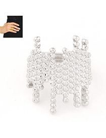 Occident Silver Color Irregular Shape Decorated Simple Design Alloy Korean Rings