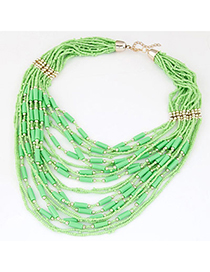 bohemia Green Beads Decorated Multilayer Design Alloy Beaded Necklaces