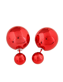Occident Red Round Shape Decorated Simple Design Alloy Stud Earrings