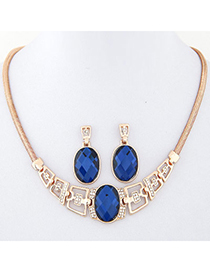 Elegant Gold Color Diamond Decorated Oval Shape Design Alloy Jewelry Sets