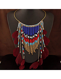 Bohemia Claret-red Beads Decorated Tassel Design Alloy Fashion Necklaces
