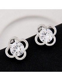 delicate Silver Color Diamond Decorated Clover Shape Design Alloy Stud Earrings