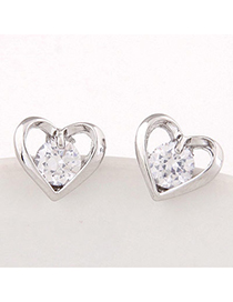 Sweet Silver Color Diamond Decorated Heart Shape Design Alloy Stud Earrings