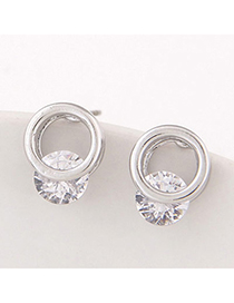 Trendy Silver Color Diamond Decorated Round Shape Design Alloy Stud Earrings