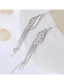 Boutique Silver Color Leaf Shape Decorated Tassel Design Cuprum Fashion Earrings