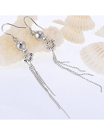 Cartoon Silver Color Fish Shape Decorated Tassel Design Cuprum Fashion Earrings
