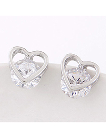 Lovely Silver Color Diamond Decorated Heart Shape Design Alloy Stud Earrings