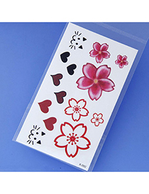 Magic Plum Red Flower & Heart Pattern Simple Design Tape Tattoos Body Art
