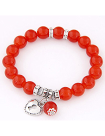 Fashion Red Beads Decorated Heart Shape Design Alloy Korean Fashion Bracelet