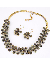 Occident Gray Diamond Decorated Flower Design Alloy Jewelry Sets
