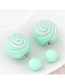 Occident Light Green Diamond Decorated Round Shape Design Alloy Stud Earrings