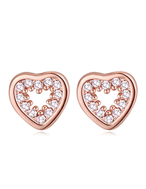 Casual Rose Gold Diamond Decorated Heart Shape Design Zircon Crystal Earrings