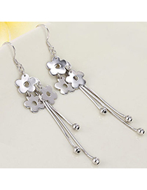 Glamour Silver Color Flower Shape Decorated Tassel Design Cuprum Crystal Earrings