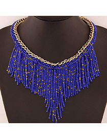 Bohemia Sapphire Blue Beads Decorated Weave Tassle Design