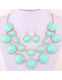 Joker Blue Gemstone Decorated Double Layer Design Alloy Jewelry Sets