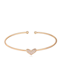 Pretty Champagne Gold Diamond Decorated Heart Shape Design Cuprum Crystal Bracelets