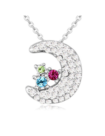 Sweet Multicolor Diamond Decorated Moon Shape Pendant Design Alloy Crystal Necklaces