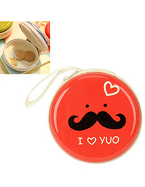 Girls red bearded pattern mini round shape design linen Wallet
