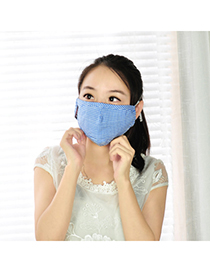 Rhinestone blue grid simple design cotton Face Mask
