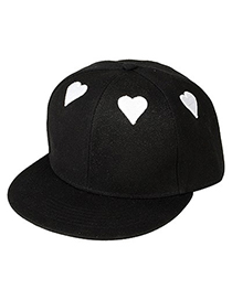 Teen Black Embroidery Poker White Heart Pattern Design