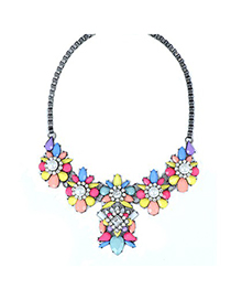 Native Multicolor Pearl Flower Decorated Alloy Bib Necklaces
