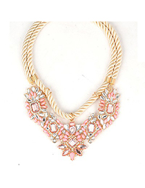 Bohemian Pink Geometric Gemstone Pendant Double Rope Design Alloy Fashion Necklaces