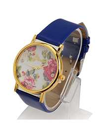 Fashion Blue Rose Pattern Round Shape Design Alloy Ladies Watches