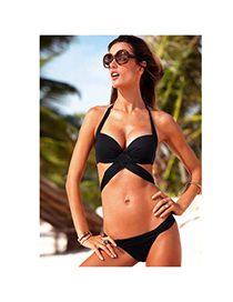 Hippie Black After Sexy Cross Strap Sling Back Buckle Polyamide Fibre Sexy Bikini