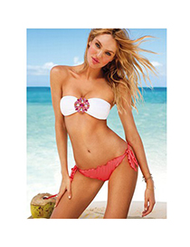 Moving Plum Red Diamond Decorated Push Up Polyamide Fibre Sexy Bikini