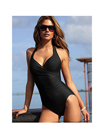 Ladies Black Conjoined Triangle Small Skirt Polyamide Fibre Monokini