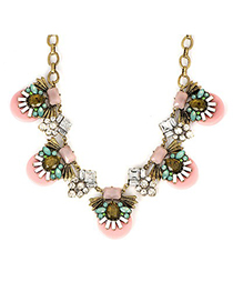 Infinity Pink Abstract Bee Gemstone Decorated Alloy Fashion Necklaces