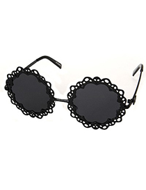 Mobile Black Hollow Out Flower Shape Frame Design Alloy Women Sunglasses