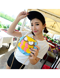 Propper Lake Blue Cartoon Owl Pattern Design PU Leather Messenger bags