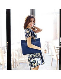 Squash Blue Crocodile Grain Simple Design PU Leather Handbags