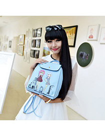 Charm skyblue beautiful girl pattern simple design pu Backpack