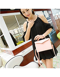 Denim pink pure color simple design pu Messenger bags