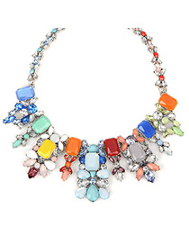 Custom multicolor gemstonedecoratedgeometricshapedesign alloy Fashion Necklaces