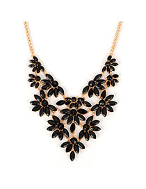 Airmail black acrylicstonedecoratedflowerdesign alloy Fashion Necklaces