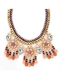 Baltic pink threeflowerdecoratedtasseldesign alloy Fashion Necklaces