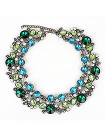 Specialty blue&green CZdiamonddecoratedcircleshapedesign alloy Fashion Necklaces
