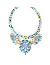 Varsity blue gemstonedecoratedflowerdesign alloy Fashion Necklaces