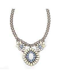 Scrapbooki white gemstonedecoratedflowerdesign alloy Fashion Necklaces