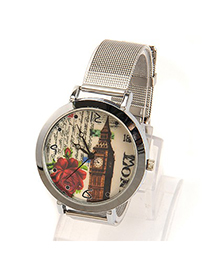 Postal silver color flower decorated Big Ben pattern design