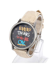 Chiropract khaki letters pattern simple design alloy Ladies Watches