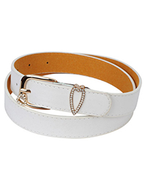 Preppy white diamond decorated heart shape buckle design alloy Thin belts
